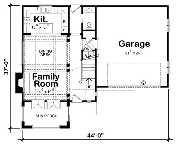 European Floor Plan - Main Floor Plan Plan #20-2195
