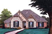European Style House Plan - 3 Beds 2.5 Baths 2103 Sq/Ft Plan #310-689 Exterior - Front Elevation