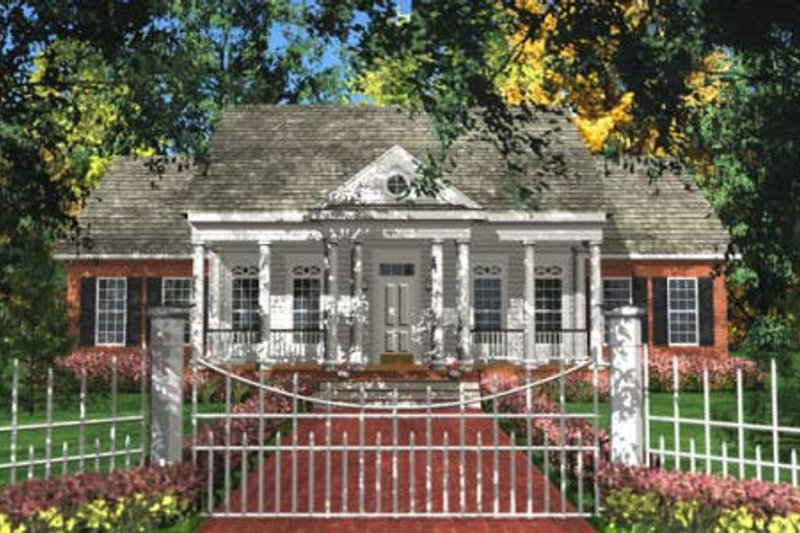 Southern Exterior - Front Elevation Plan #406-282