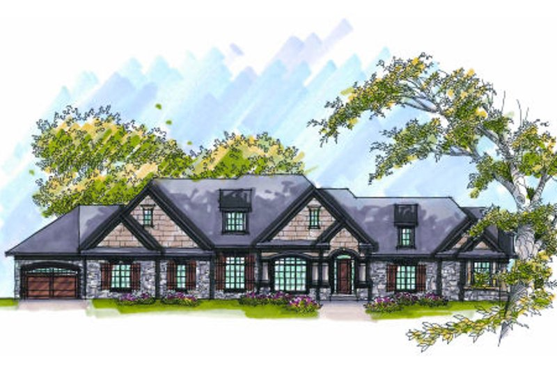 European Exterior - Front Elevation Plan #70-1010