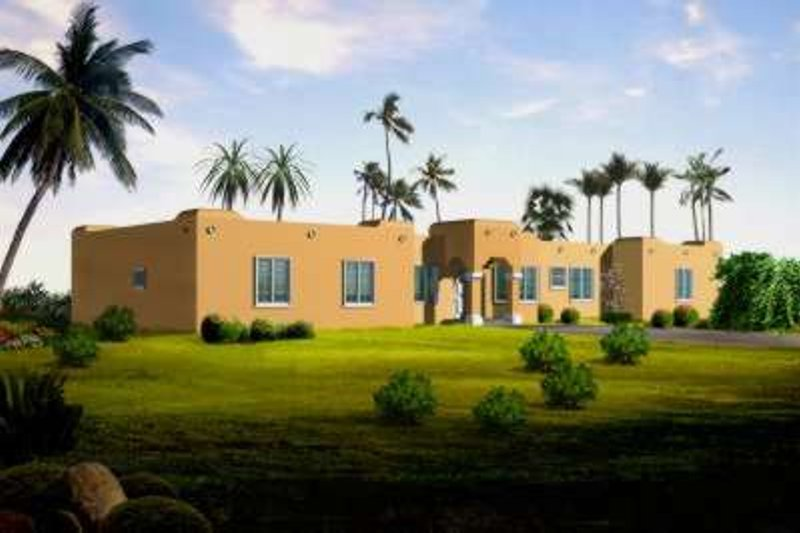 Adobe / Southwestern Style House Plan - 4 Beds 3 Baths 2367 Sq/Ft Plan #1-1456