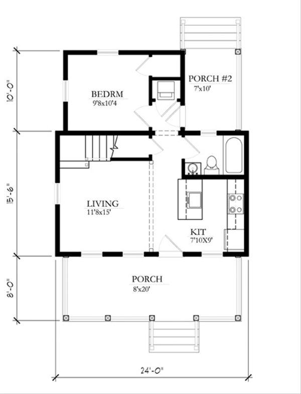 Cottage Style House Plan - 2 Beds 1 Baths 697 Sq/Ft Plan #514-10 Floor Plan - Main Floor Plan