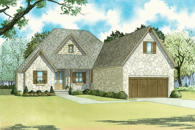 Traditional Style House Plan - 4 Beds 3.5 Baths 2500 Sq/Ft Plan #923-32 Exterior - Front Elevation