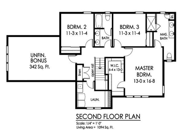 Traditional Floor Plan - Upper Floor Plan Plan #1010-243