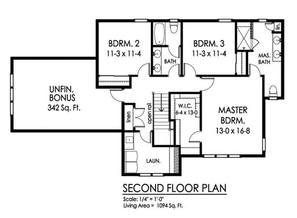 Traditional Floor Plan - Upper Floor Plan Plan #1010-243