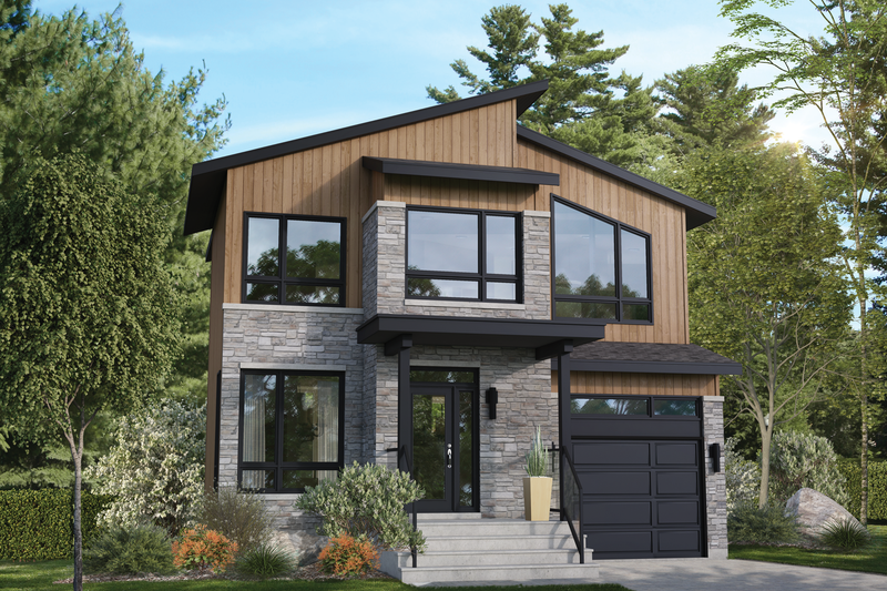 Dream House Plan - Contemporary Exterior - Front Elevation Plan #25-4890