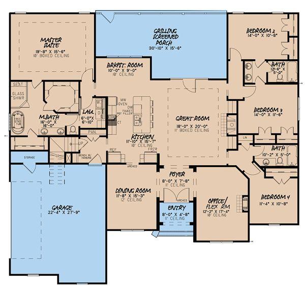 Craftsman Floor Plan - Main Floor Plan Plan #923-144