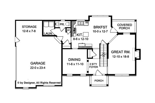 Colonial Floor Plan - Main Floor Plan Plan #1010-208