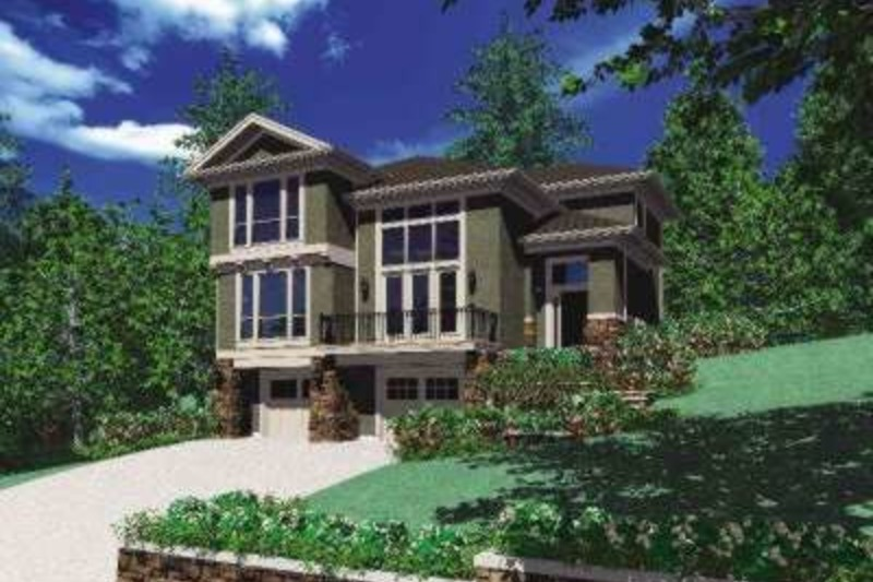 Contemporary Exterior - Front Elevation Plan #48-156 - Houseplans.com