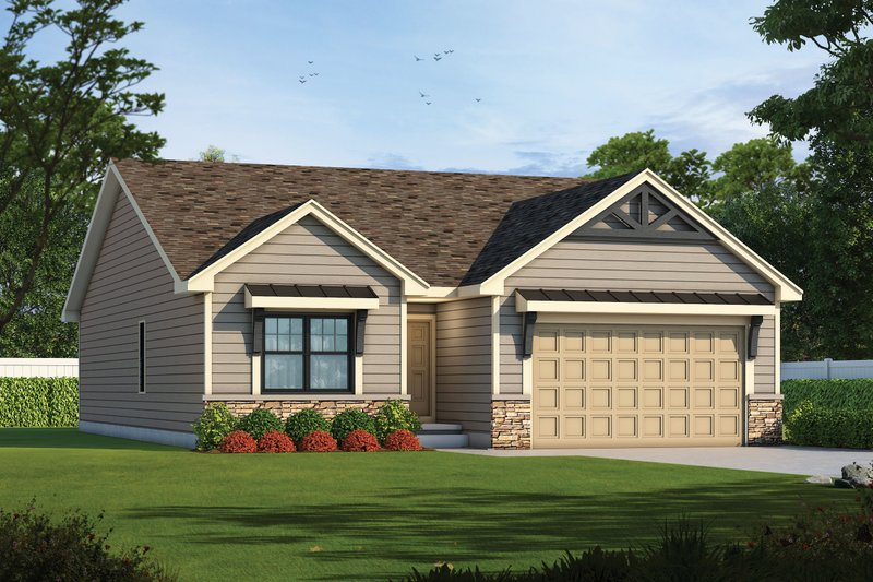 Craftsman Style House Plan - 2 Beds 2 Baths 1664 Sq/Ft Plan #20-2405 Exterior - Front Elevation