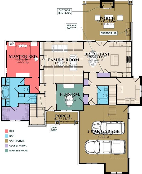 Craftsman Style House Plan - 6 Beds 3 Baths 2713 Sq/Ft Plan #63-418 Floor Plan - Main Floor Plan