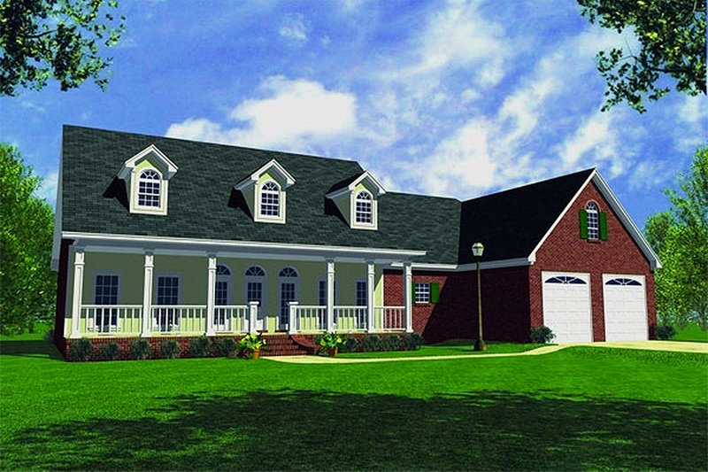 Farmhouse Style House Plan - 3 Beds 3 Baths 2138 Sq/Ft Plan #21-132 Exterior - Front Elevation