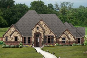 Tudor Exterior - Front Elevation Plan #84-601