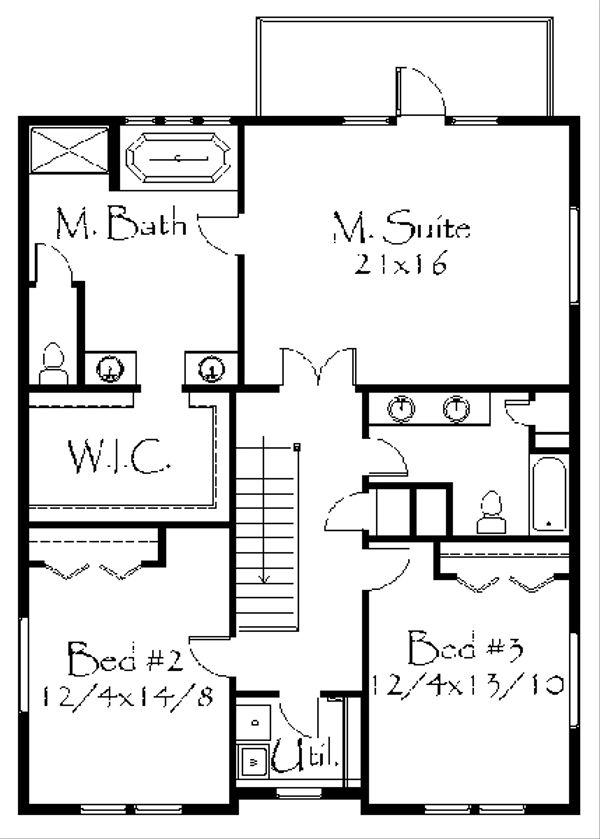 Craftsman Floor Plan - Upper Floor Plan Plan #509-35