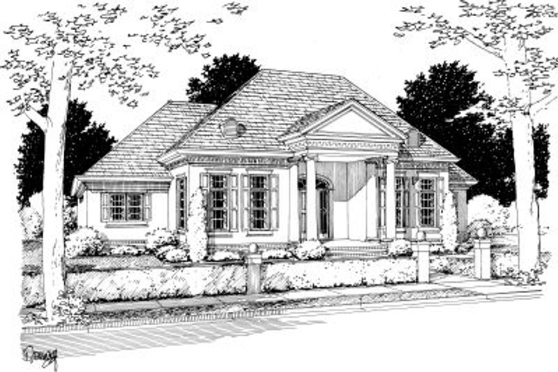 Southern Exterior - Front Elevation Plan #20-332